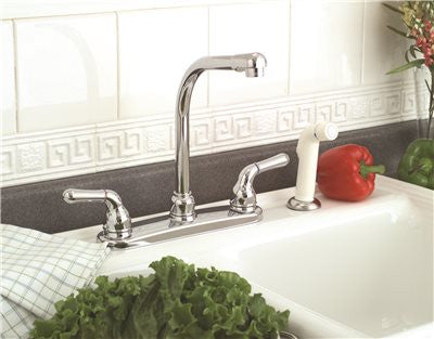 SANIBEL HI RISE KITCHEN FAUCET CHROME WITH SPRAY TWO LEVER HANDLES - Score Materials - 2