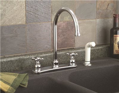 PREMIER® WELLINGTON™ KITCHEN FAUCET WITH TWO HANDLES AND SIDE SPRAY, CHROME, LEAD FREE - Score Materials - 2