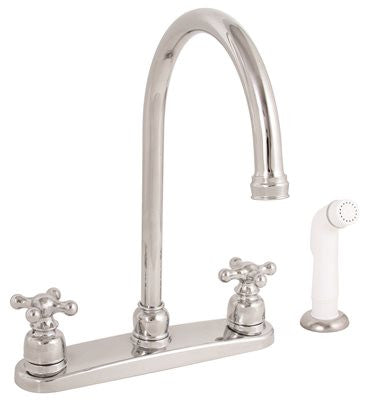 PREMIER® WELLINGTON™ KITCHEN FAUCET WITH TWO HANDLES AND SIDE SPRAY, CHROME, LEAD FREE - Score Materials - 1