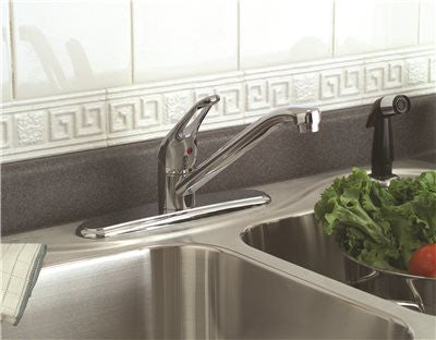 BAYVIEW KITCHEN FAUCET LEVER EURO WITH SPRAY CHROME - Score Materials - 1