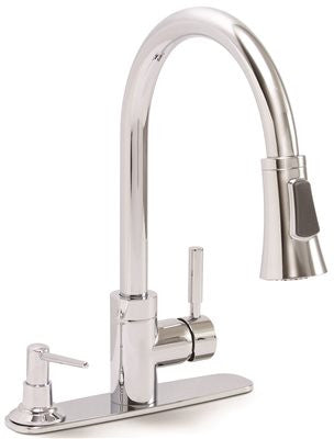 PREMIER® ESSEN™ KITCHEN FAUCET WITH PULL-DOWN, SINGLE LEVER HANDLE AND SOAP DISPENSER, 1.8 GPM, CHROME, LEAD FREE*