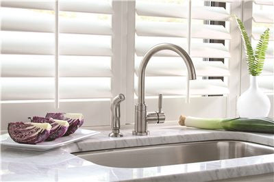 PREMIER® ESSEN™ SINGLE-HANDLE KITCHEN FAUCET WITH SIDE SPRAY, BRUSHED NICKEL - Score Materials - 2
