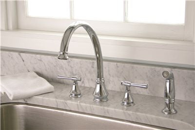 PREMIER® TORINO™ KITCHEN FAUCET WITH TWO HANDLES AND SIDE SPRAY, CHROME, LEAD FREE - Score Materials - 2