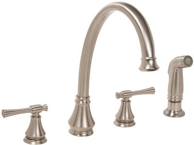 PREMIER® TORINO™ KITCHEN FAUCET WITH TWO HANDLES AND SIDE SPRAY, BRUSHED NICKEL, LEAD FREE - Score Materials - 1