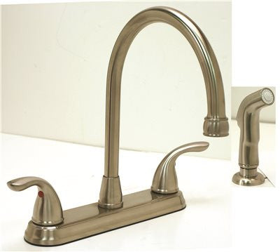 PREMIER® WESTLAKE™ KITCHEN FAUCET WITH TWO HANDLES AND SIDE SPRAY, 1.8 GPM, BRUSHED NICKEL, LEAD FREE* - Score Materials - 2