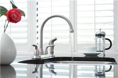 PREMIER® WESTLAKE™ KITCHEN FAUCET WITH TWO HANDLES AND SIDE SPRAY, 1.8 GPM, BRUSHED NICKEL, LEAD FREE*