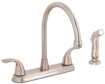 PREMIER® WESTLAKE™ KITCHEN FAUCET WITH TWO HANDLES AND SIDE SPRAY, 1.8 GPM, BRUSHED NICKEL, LEAD FREE* - Score Materials - 1