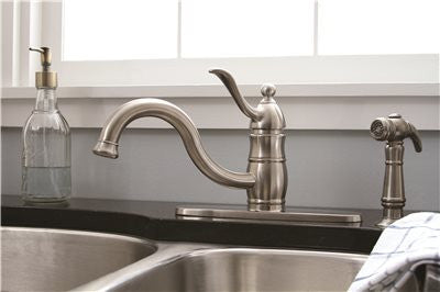SONOMA SINGLE-HANDLE KITCHEN FAUCET WITH MATCHING SIDE SPRAY, PVD BRUSHED NICKEL - Score Materials - 2