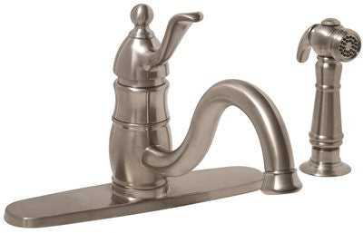 SONOMA SINGLE-HANDLE KITCHEN FAUCET WITH MATCHING SIDE SPRAY, PVD BRUSHED NICKEL - Score Materials - 1