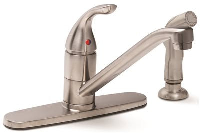 PREMIER® CALIBER® KITCHEN FAUCET WITH SINGLE LEVER HANDLE AND SPRAY, BRUSHED NICKEL, LEAD FREE - Score Materials