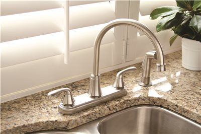 PREMIER® WATERFRONT™ KITCHEN FAUCET WITH TWO HANDLES AND SIDE SPRAY, 1.8 GPM, BRUSHED NICKEL, LEAD FREE* - Score Materials - 1