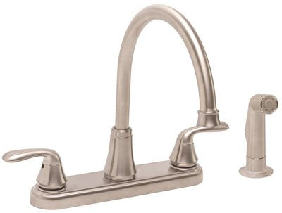PREMIER® WATERFRONT™ KITCHEN FAUCET WITH TWO HANDLES AND SIDE SPRAY, 1.8 GPM, BRUSHED NICKEL, LEAD FREE* - Score Materials - 2
