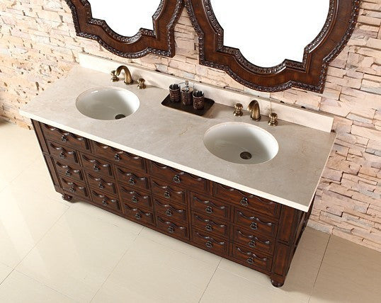 "James Martin Solid Wood 72"" Castilian Double Bathroom Vanity In Aged Cognac 160-V72-ACG - Score Materials - 2"