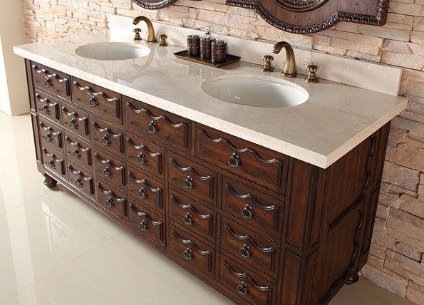 "James Martin Solid Wood 72"" Castilian Double Bathroom Vanity In Aged Cognac 160-V72-ACG - Score Materials - 3"