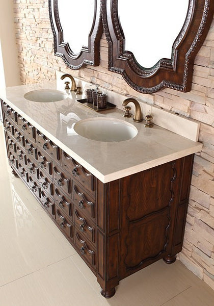 "James Martin Solid Wood 72"" Castilian Double Bathroom Vanity In Aged Cognac 160-V72-ACG - Score Materials - 4"
