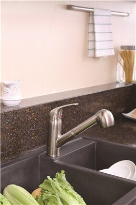 PREMIER® BAYVIEW™ SINGLE-HANDLE PULL-OUT KITCHEN FAUCET, BRUSHED NICKEL - Score Materials - 2