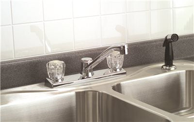 CONCORD KITCHEN FAUCET WASHERLESS WITH ACRYLIC HANDLES AND SPRAY CHROME FINISH