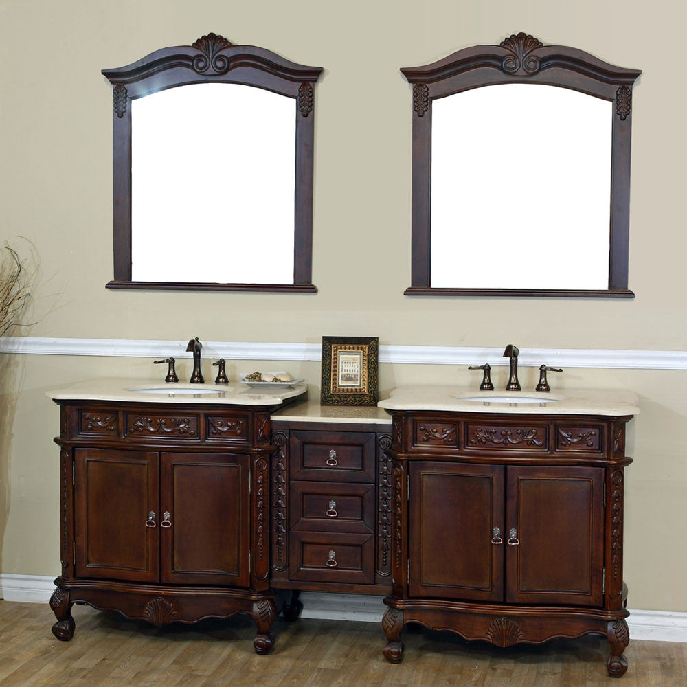 82.7 in. Double sink vanity-walnut-cream marble - Score Materials - 1