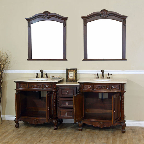 82.7 in. Double sink vanity-walnut-cream marble - Score Materials - 3