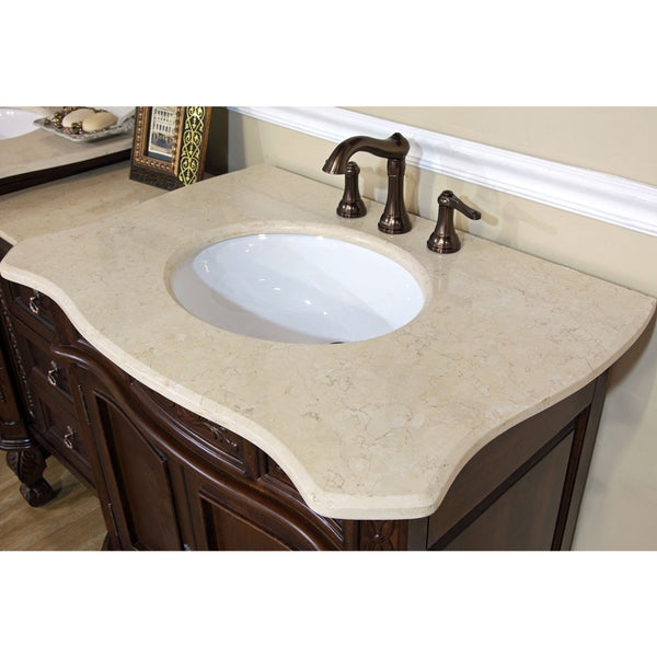 82.7 in. Double sink vanity-walnut-cream marble - Score Materials - 4