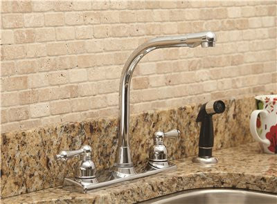 PREMIER® CONCORD™ KITCHEN FAUCET WITH TWO HANDLES AND SIDE SPRAY, CHROME, LEAD FREE - Score Materials - 2
