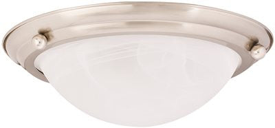 MONUMENT® FLUSH MOUNT CEILING FIXTURE, BRUSHED NICKEL, 15-1/2 X 4-3/4 IN., USES 2 13-WATT G24Q-1 BASE LAMPS* - Score Materials