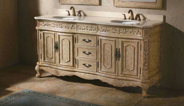"James Martin Classico Collection Solid Wood 72"" Double Bathroom Vanity, Antique In Parchment 206-001-5500 - Score Materials - 1"