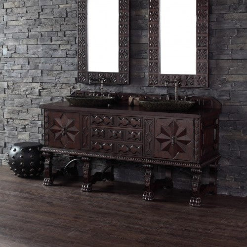 "James Martin Solid Wood 72"" Balmoral Double Bathroom Vanity In Antique Walnut 150-V72-ANW - Score Materials - 1"
