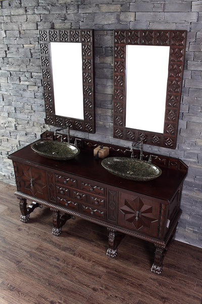 "James Martin Solid Wood 72"" Balmoral Double Bathroom Vanity In Antique Walnut 150-V72-ANW - Score Materials - 4"