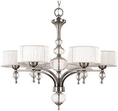 BAYONNE COLLECTION 6-LIGHT CHANDELIER, SILVER STRING LINED SHADES - Score Materials