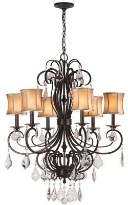 ANNELISE COLLECTION 6-LIGHT CHANDELIER, BEIGE STRETCHED FABRIC SHADES, 28 X 34 IN - Score Materials