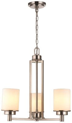 KOLE COLLECTION 3-LIGHT CHANDELIER, FROSTED GLASS, 20-4/5 X 60 IN - Score Materials