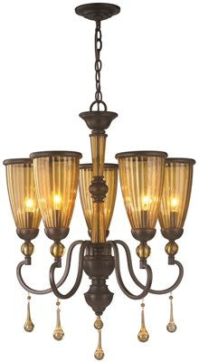 AMBER MARIE COLLECTION 5-LIGHT CHANDELIER, CRYSTAL ADORNED TEA STAINED GLASS, 23-3/10 X 60 IN - Score Materials