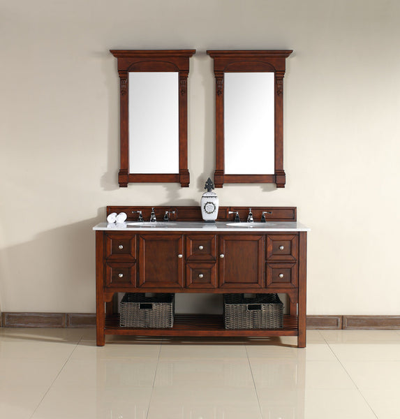 "James Martin Urban South Hampton Collection 60"" Double Bathroom Vanity, Solid Wood, Warm Cherry Finish, Guangxi Marble Top 925-V60D-WCH-GWH - Score Materials - 1"