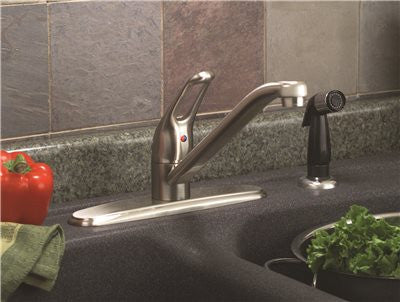 PREMIER® BAYVIEW™ KITCHEN FAUCET WITH LOOP HANDLE AND SPRAY, BRUSHED NICKEL, LEAD FREE - Score Materials - 3