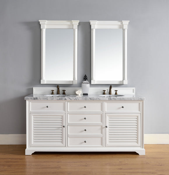 "James Martin Savannah 72"" Double Bathroom Vanity Cabinet, Cottage White 238-104-V72-CWH - Score Materials - 2"