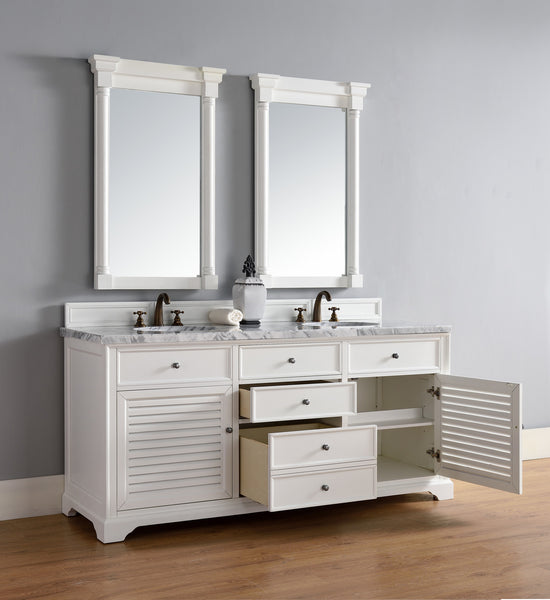 "James Martin Savannah 72"" Double Bathroom Vanity Cabinet, Cottage White 238-104-V72-CWH - Score Materials - 4"