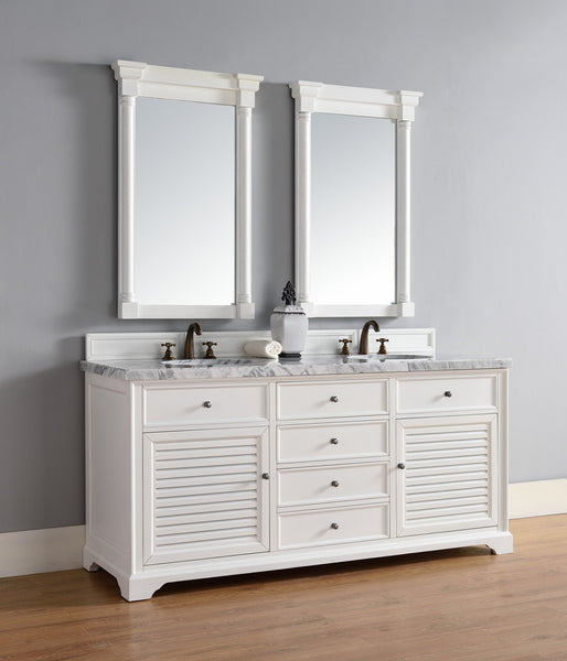 "James Martin Savannah 72"" Double Bathroom Vanity Cabinet, Cottage White 238-104-V72-CWH - Score Materials - 6"