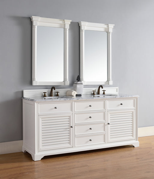 "James Martin Savannah 72"" Double Bathroom Vanity Cabinet, Cottage White 238-104-V72-CWH - Score Materials - 7"
