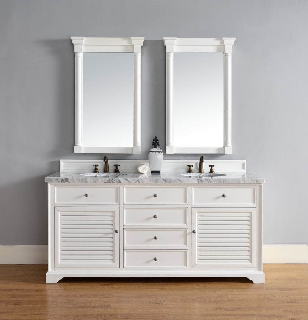 "James Martin Savannah 72"" Double Bathroom Vanity Cabinet, Cottage White 238-104-V72-CWH - Score Materials - 1"