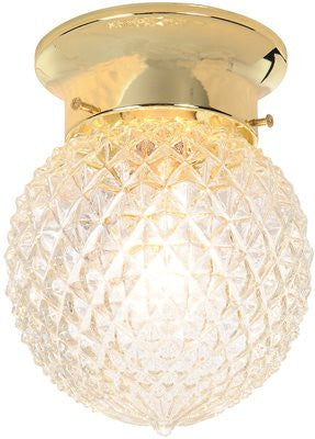 ROYAL COVE™ DIAMOND CUT GLASS CEILING FIXTURE, POLISHED BRASS, 6 IN., - Score Materials