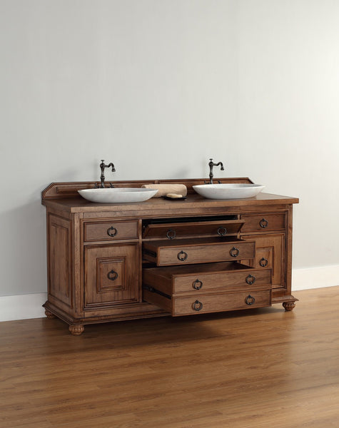 "James Martin Solid Wood 72"" Mykonos Double Bathroom Vanity In Cinnamon 550-V72-CIN - Score Materials - 8"
