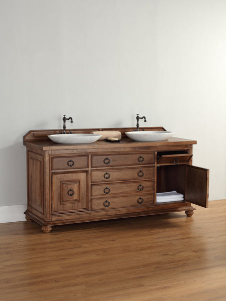 "James Martin Solid Wood 72"" Mykonos Double Bathroom Vanity In Cinnamon 550-V72-CIN - Score Materials - 9"