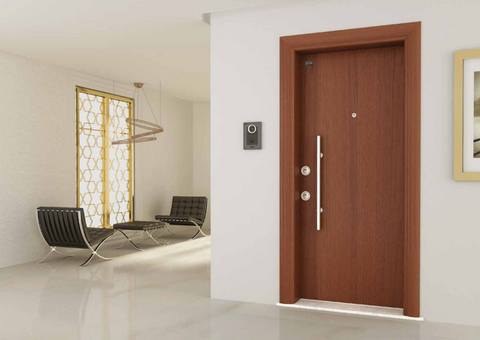 Apollon Modern Steel Security Door With Wood Look Finish - Score Materials - 1