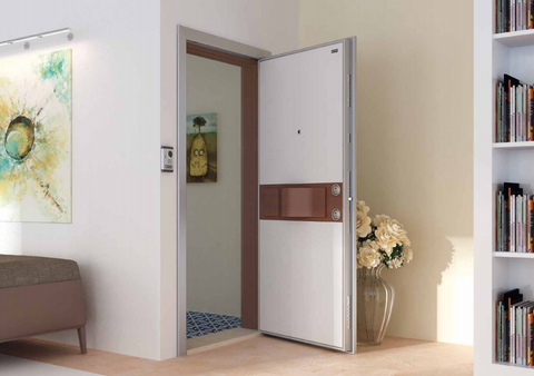 Aura Steel Security Door With Wood Look Finish White & Alpi Walnut - Score Materials - 1