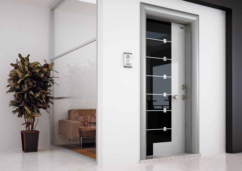 Black and White, Steel and Glass Security Door - Score Materials - 1