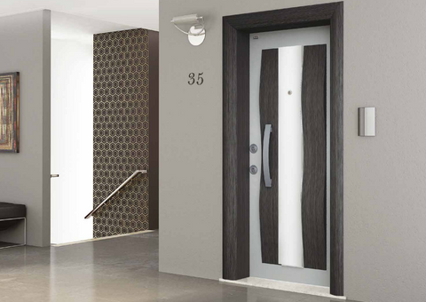 Dalga Steel Security Door in Anthracite Gray and Soft White Finish - Score Materials - 1
