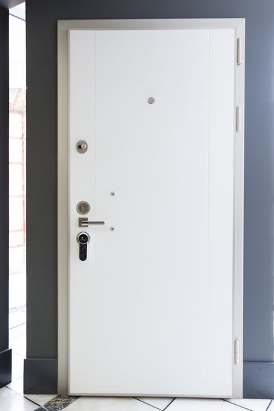 Rumi Steel Security Door, White And Black - Score Materials - 3