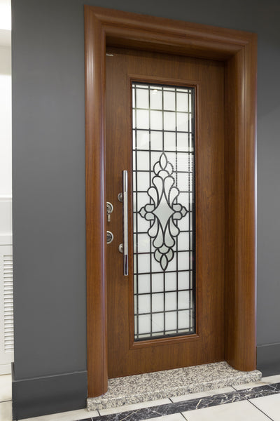 Otantika Steel Security Door With Decorative Glass - Score Materials - 2