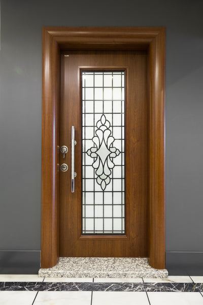 Otantika Steel Security Door With Decorative Glass - Score Materials - 3